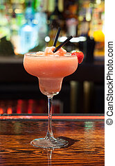 Close up on colourful daiquiri - Close up on colourful...