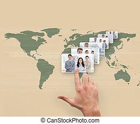 ビジネス, 人々, 選択, 提示, 手, インターフェイス