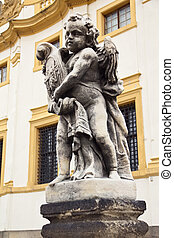 Sculpture of cherub in Prague, Czech Republic - Sculpture of...