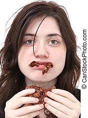Too Much Chocolate - Teen girl sick from eating too much...
