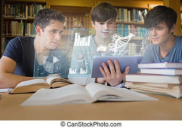 Concentrated young men studying medicine together with...