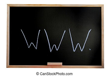 blackboard and internet - blackboard isolated on white...