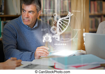 Mature student using futuristic hologram to learn biology...