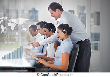 Call center employees at work on futuristic interfaces...