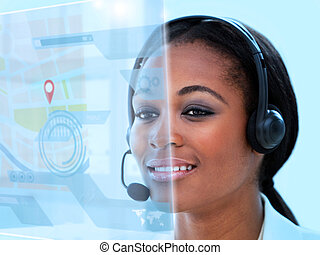 Beautiful call center worker using futuristic holographic...