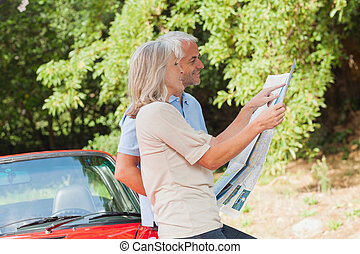Smiling mature couple reading map together by their...