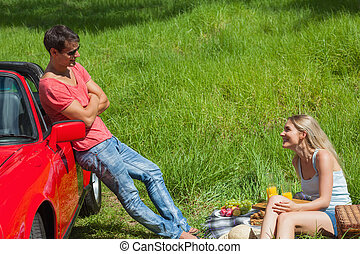 Smiling couple having picnic together on a sunny day