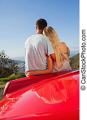 Pretty couple hugging and admiring panorama on a sunny day
