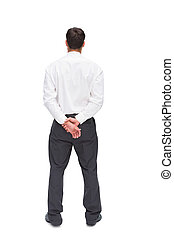 Businessman turning his back to camera on white background