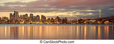 Seattle panorama in the dusk - Seattle panorama seen from...