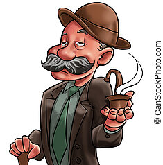 The old man and pipe - A gentleman with a pipe smoking