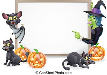 Witch and Vampire Bat Halloween Sign - Halloween sign or...