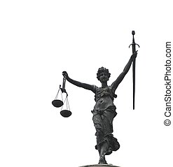 Justitia - Lady Justice at the roof of the town hall of...