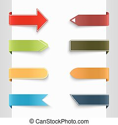 Color set of bent paper tags vector eps 10