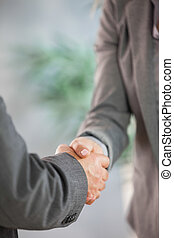 Business team shaking hands close up in an office