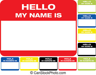 Hello, My name is label - name label hello, my name is hola,...