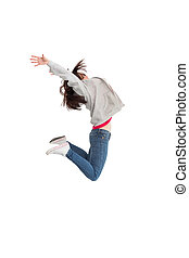 Cheerful young woman jumping on white background