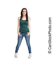 Casual young woman posing on white background