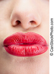 Extreme close up on red lips - Extreme close up on gorgeous...