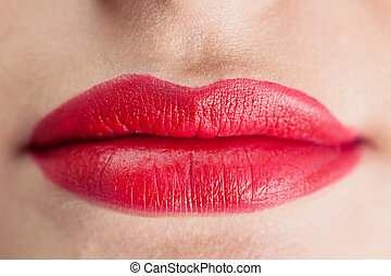 Extreme close up on sensual red lip - Extreme close up on...