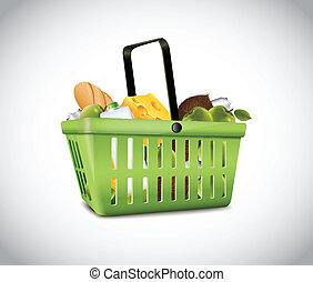 Green Plastic Basket With Food