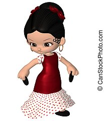 Cute Toon Spanish Flamenco Dancer - Cute toon Spanish...
