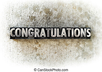 Congratulations - The word CONGRATULATIONS written in old...