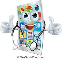 Cartoon phone doctor man - Cartoon illustration of a phone...