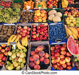 Various fruit in marketplace - Detail of fruit in...