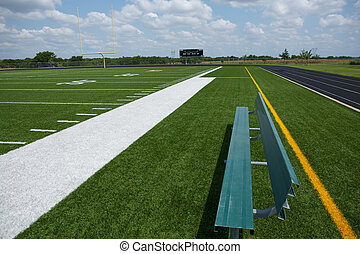 Football Field from the Bench - American Football Field View...