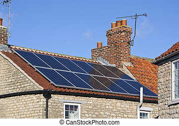 Solar Heating - Domestic Rooftop - Solar heating panels on...