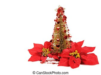 Golden Christmas tree with red hearts decor, isolated on...