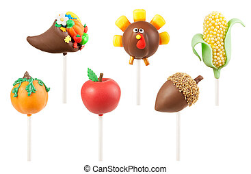 Thanksgiving cake pops: cornucopia, turkey, corn, pumpkin,...