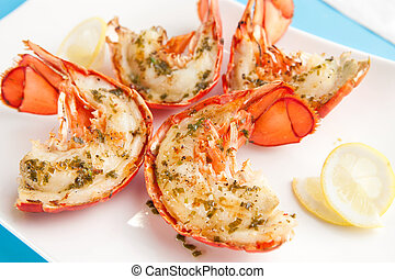 Grilled lobster tails with lemon tarragon butter