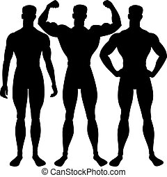 vector set athletic man silhouette in different poses -...