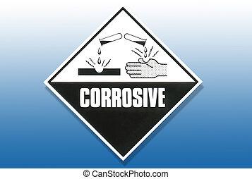 peligro, advertencia, señal, -, corrosivo