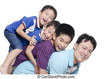 Father playing with children on white background