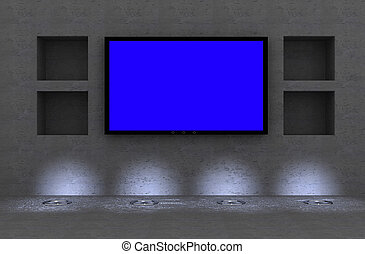 lcd tv  - lcd/plasma tv in modern interior room