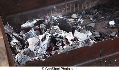 Charcoals - Smouldering charcoals in the hearth.