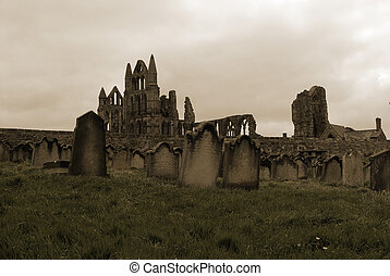 Whitby Abbey Overlooking Graveyard - Whitby Abbey of Dracula...