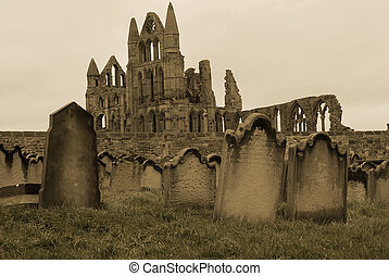 Whitby Gravestones - A sepia coloured picture of a graveyard...