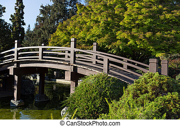 Japanese Footbridge Over Pond in Color - Japanese Footbridge...