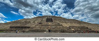 pirámide, sol, Teotihuacan