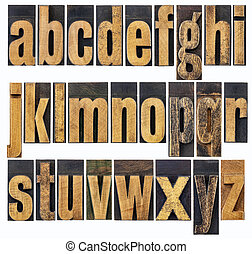 lowercase alphabet in wood type - complete English lowercase...