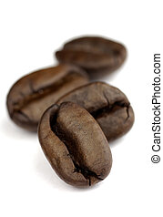 macro coffee beans - small row of coffee beans with SDOF on...