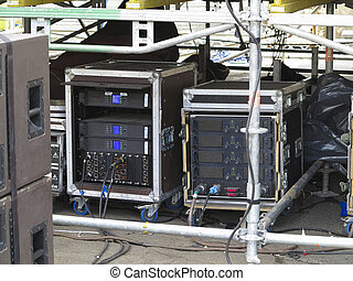 Old powerfull industrial concerto audio stage amplifiers,...