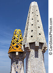 Palau Guell - Barcelona - Spain - Ornate chimney designs on...