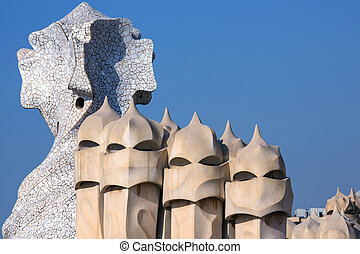Gaudi Architecture - Barcelona - Spain - Ornate chimney...