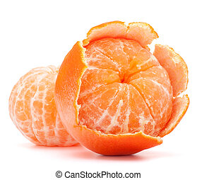 Peeled tangerine or mandarin fruit isolated on white...
