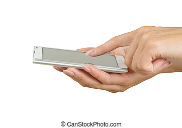 touchscreen smart phone - Hand holding big touchscreen smart...
